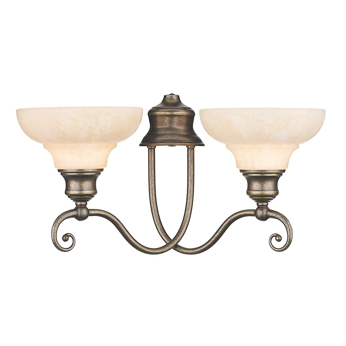 David Hunt ST211 Stratford Double Wall Bracket In An Aged Brass Finish With Glass