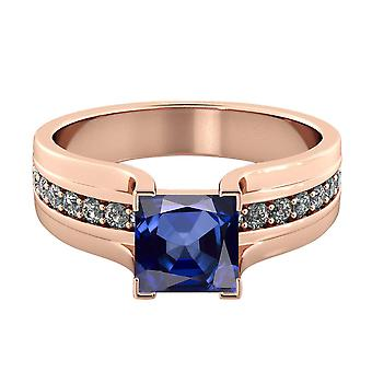 Blue Sapphire 1.20 ctw Ring with Diamonds 14K Rose Gold Bridge Channel set Princess