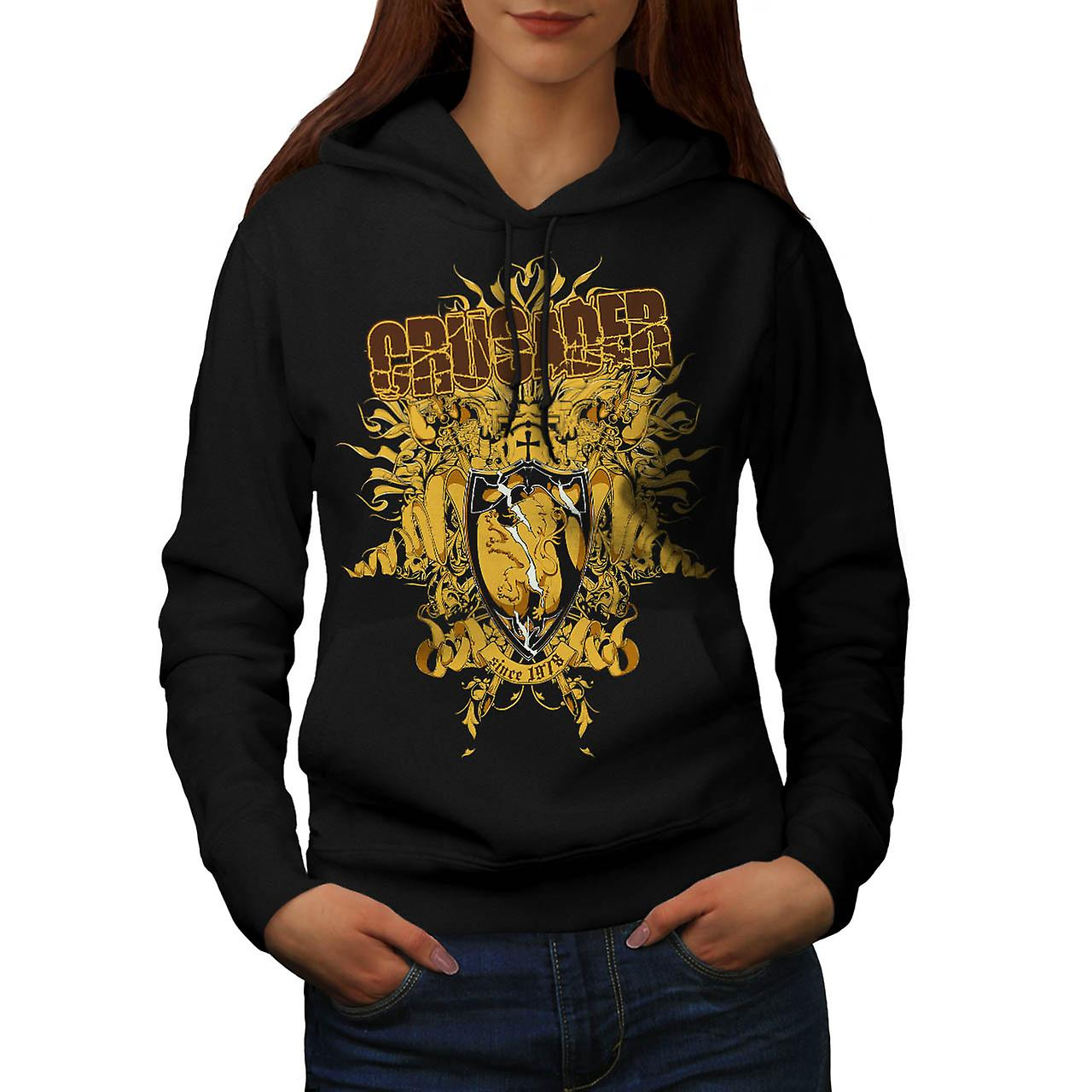 Crusader Knight Hero Warriors Women Black Hoodie | Wellcoda