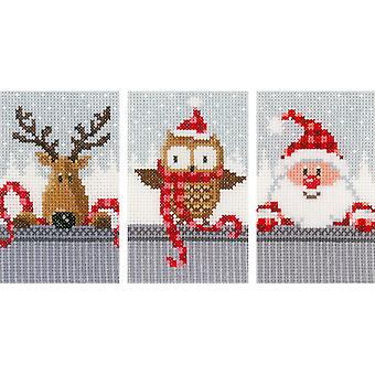 Christmas Buddies I Greeting Cards On Aida Counted Cross Sti-4.2