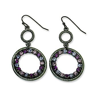 Black-plated Lt and Dk Pink and Purple Crystal Circle Drop Earrings