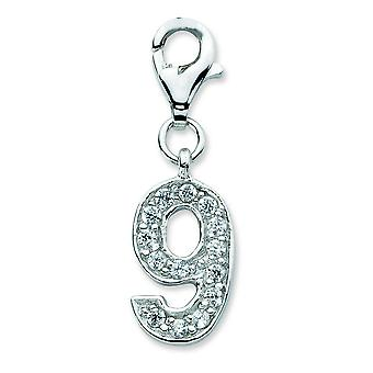 Sterling Silver Rhodium-plated Fancy Lobster Closure Cubic Zirconia Numeral 9 With Lobster Clasp Charm - Measures 26x8mm