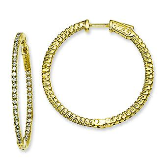 Sterling Silver Polished Prong set Hinged hoop Gold-Flashed With Cubic Zirconia Round Hoop Earrings