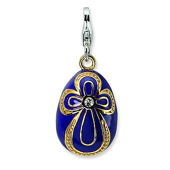 Sterling Silver Solid Enamel Rhodium-plated Fancy Lobster Closure Gold-Flashed Crystal Purple Egg With Lobster Charm - M