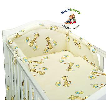 BlueberryShop 3 pcs BABY COT BED BUNDLE BEDDING SET DUVET+PILLOW COVERS + BUMPER cot bed (35.5