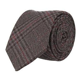 Andrews & co. narrow tie Club tie Plaid dark grey