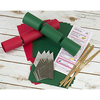 8 Christmas Red & Green Make & Fill Your Own Cracker Making Craft Kit