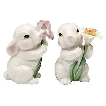 Hvid Bunny kaniner par og blomster Salt og peber Shakers