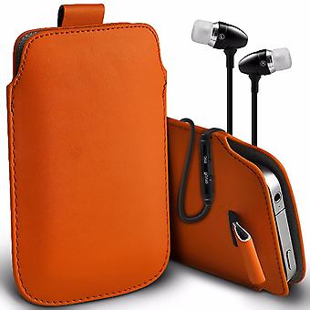 i-Tronixs Premium Stylish Faux Leather Pull Tab Pouch Skin Case Cover with Aluminium Stereo Hands Free Earphone For X-View Zen Element (5.5