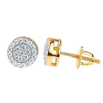 925 sterling silver bling cubic zirconia earrings - CLUSTER 8mm