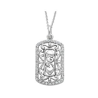 Thankful For You Pendant Necklace in Sterling Silver with Synthetic Cubic Zorconias