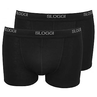 Sloggi 2-Pack Basic Short Boxer Trunks, Black