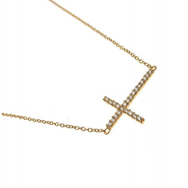 W.A.T Kissika 925 Sterling Silver And Gold Plated Crystal Cross Necklace