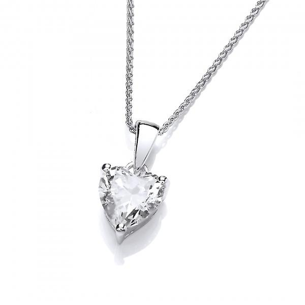 Cavendish French Single Crystal CZ Heart Sterling Silver Pendant without Chain