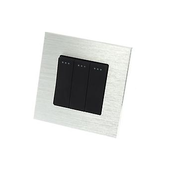 I LumoS Luxury Silver Brushed Aluminium Frame 3 Gang 1 Way Rocker Wall Light Switches