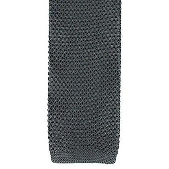 Michelsons of London Silk Knitted Skinny Tie - Charcoal