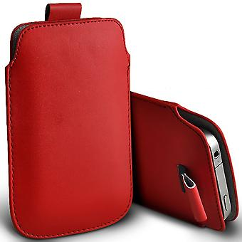 LG G4 Beat Slip In Pull Tab Faux Leather Pouch Case Cover (Red)