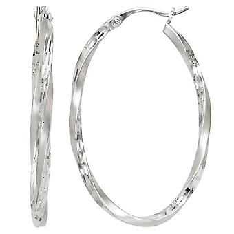 Hoops rhodium plated oval 925 Sterling Silver earrings silver partially frosted