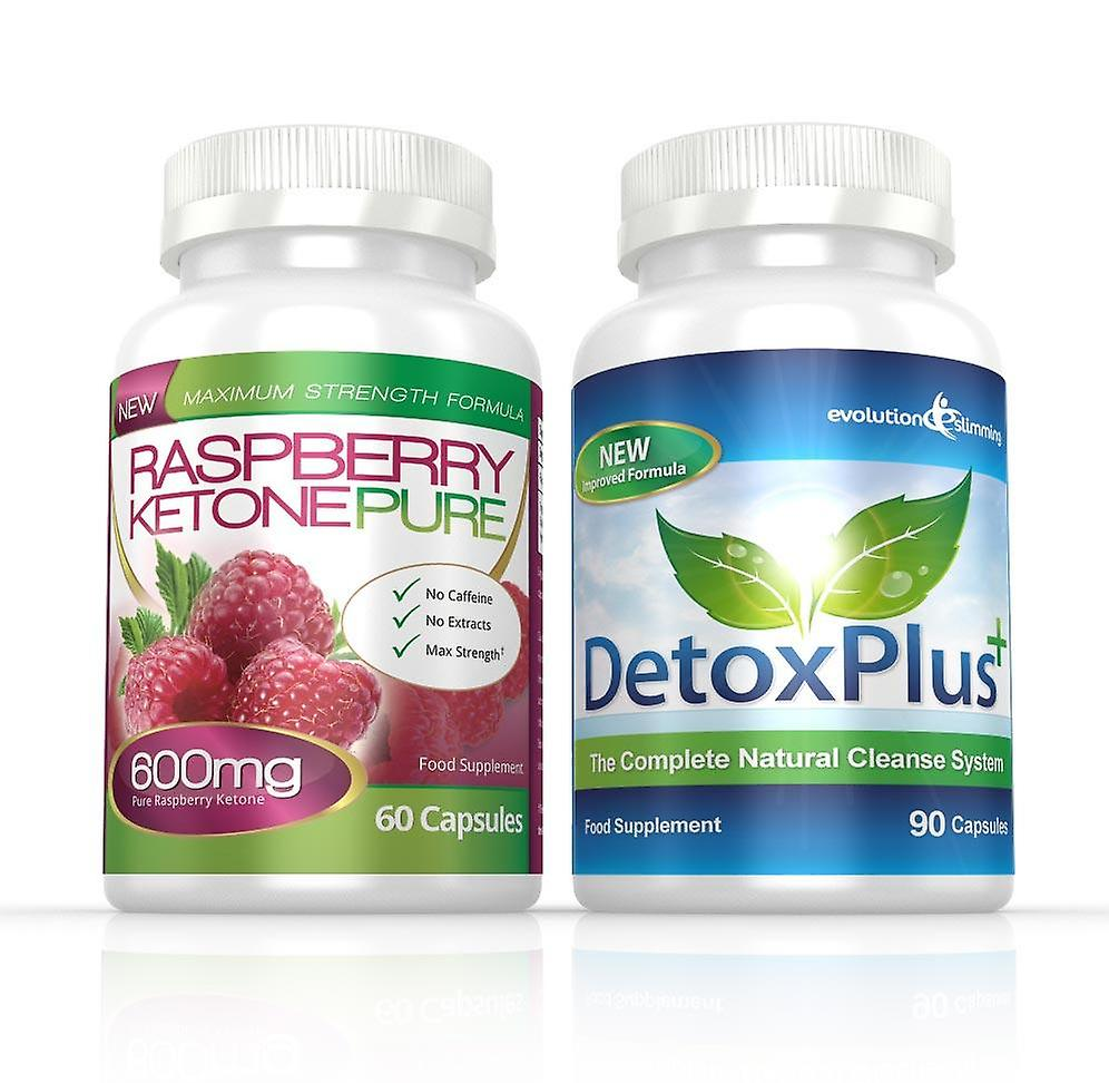 Raspberry Ketone Pure 600mg and DetoxPlus Cleanse Combo Pack - 1 Month Supply - Fat Burner and Colon Cleanse - Evolution Slimming