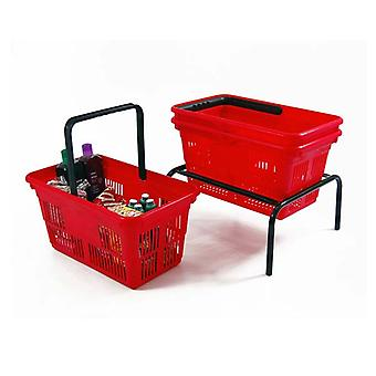 10 Red Plastic Shopping Baskets with Basket Stacker - 21L