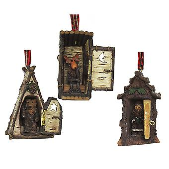 Hinged Rustic Woodland Cottage Outhouses Christmas Holiday Ornaments Set of 3