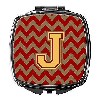 Letter J Chevron Garnet and Gold  Compact Mirror