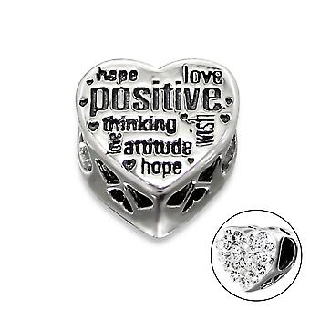 Heart Positive - 925 Sterling Silver Jewelled Beads