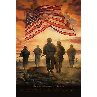Bless Americas Heroes Poster Print by Bonnie Mohr (12 x 18)