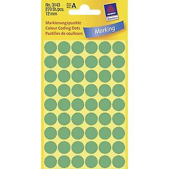 Avery-Zweckform 3143 Labels (hand writable) Ø 12 mm Paper Green 270 pc(s) Permanent Sticky dots