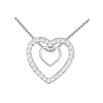 Double Silver Two Hearts Pendant Crystal Clear Stones Necklace