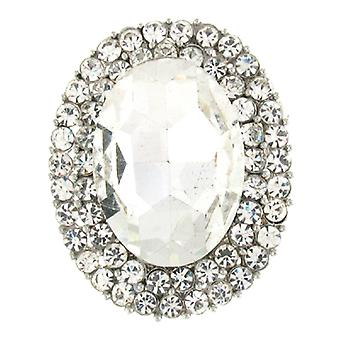 Brooches Store Silver and Crystal Oval Corsage Dress Brooch