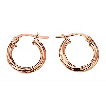 Elements Gold Twisted Hoop Earrings - Rose Gold
