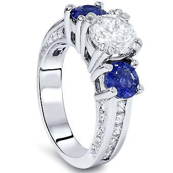 3ct tre sten Enhanced Diamond blå safir Accent Ring 14K vitt guld