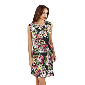 Pistachio Ladies Floral Sleeveless Pleated Midi Womens Large Flower Print Dress, Navy, Small (UK 8-10)