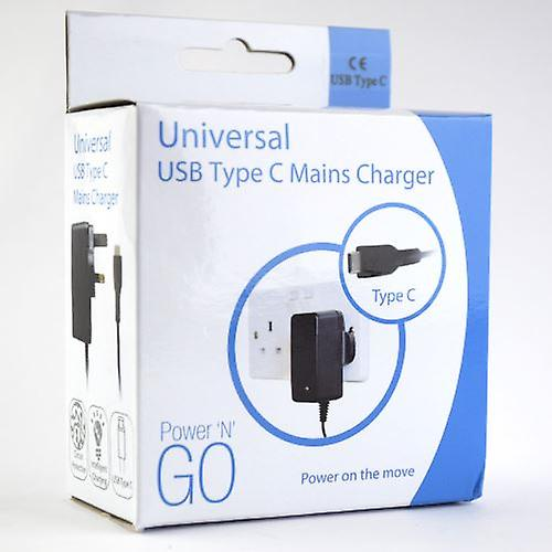 InventCase 1.5m USB Type C Portable Travel 3 Pin Mains AC Wall Charger Power Adapter Plug for Huawei P20 / P20 Pro / P20 lite