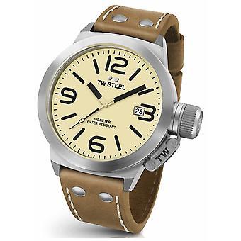 TW Mens acier cantine 45mm cuir marron bracelet CS11 Watch