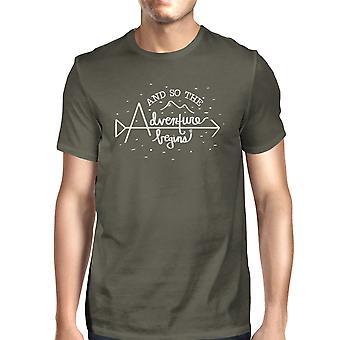 Adventure Begins Mens Dark Grey Graduation Gift T-Shirt Round Neck
