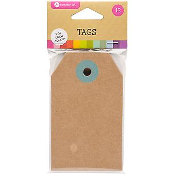 Luggage Tags W/Assorted Color Hole Reinforcement 12/Pkg-2.25