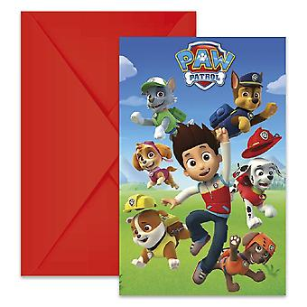 Paw patrol party invitation cards 6 piece children birthday theme party