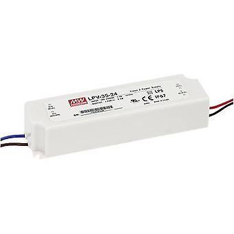 Mean Well LPV-35-24 LED transformer Constant voltage 36 W 0 - 1.5 A 24 Vdc not dimmable, Surge protection
