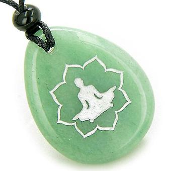 Lucky Kwan Yin Quan Lotus Amulet Green Aventurine Wish Stone Pendant Necklace
