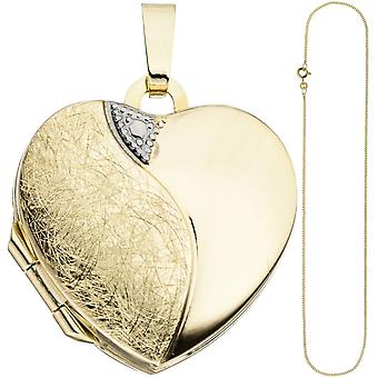 Locket heart pendant to open for 2 photos 333 gold with chain 50 cm