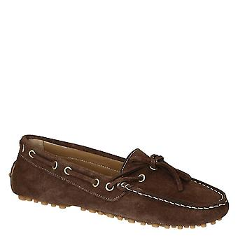 Women's driving moccasins in brown suede leather