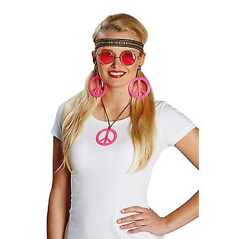 Hippie set ladies 4 of PCs chain glasses headband earrings accessory Carnival hippy
