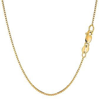 14k Yellow Solid Gold Mirror Box Chain Necklace, 0.85 mm