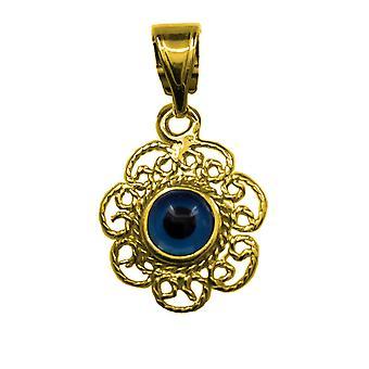 Sterling Silver Filigree Double Sided Evil Eye Pendant Charm 18 Karat Gold Overlay