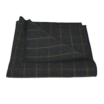 Luxury Leaf Green Tattersall Check Tweed Pocket Square, Handkerchief