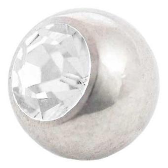 Piercing Replacement Ball, White Stone | 1,6 x 4, 5 and 6 mm, Body Jewellery