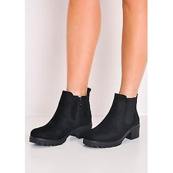 Cleated PlatformElasticated Suede Chelsea Ankle Boots Black