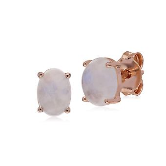 Gemondo Rose Gold Plated Sterling Silver Rainbow Moonstone Oval Stud Earrings
